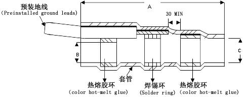 屏蔽线焊锡环热缩中接管